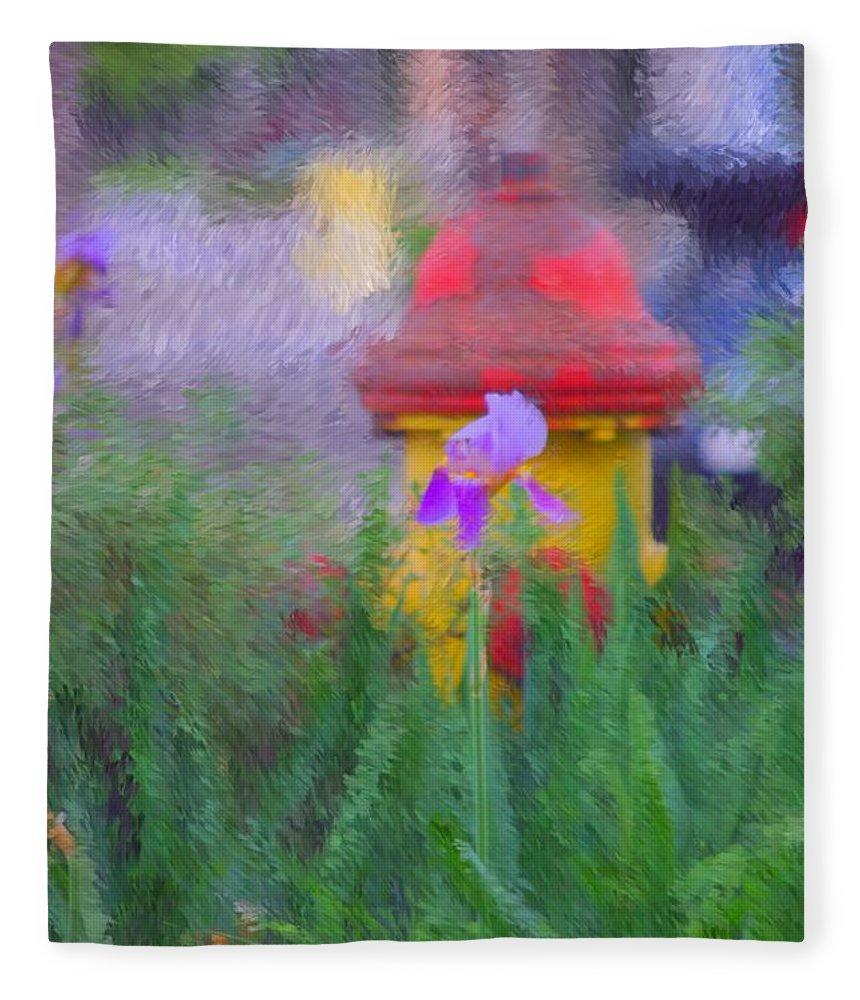 Digital Photo Fleece Blanket featuring the photograph Iris And Fire Plug by David Lane