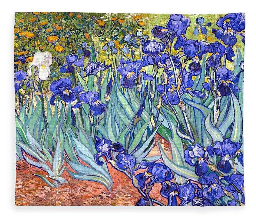 Van Gogh Fleece Blanket featuring the painting Irises by Van Gogh