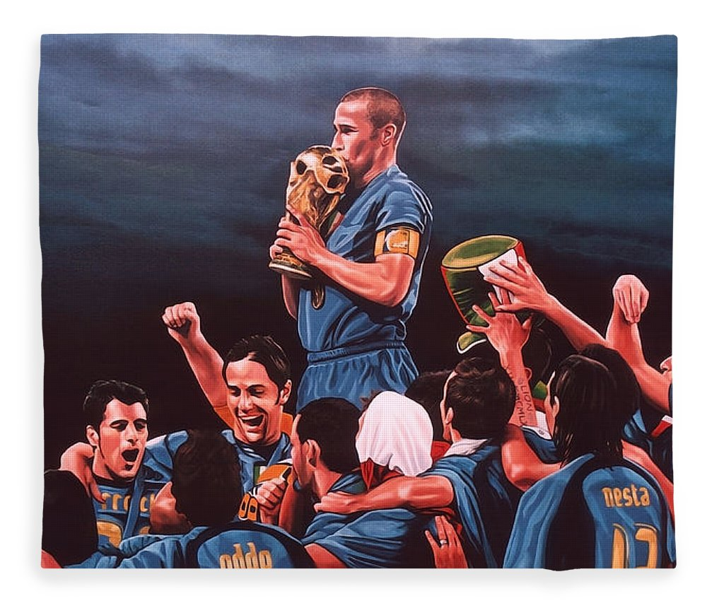 Italia Fleece Blanket featuring the painting Italia The Blues by Paul Meijering
