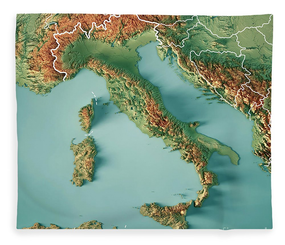 Topographic Map Italy.Italy Country 3d Render Topographic Map Border Fleece Blanket For
