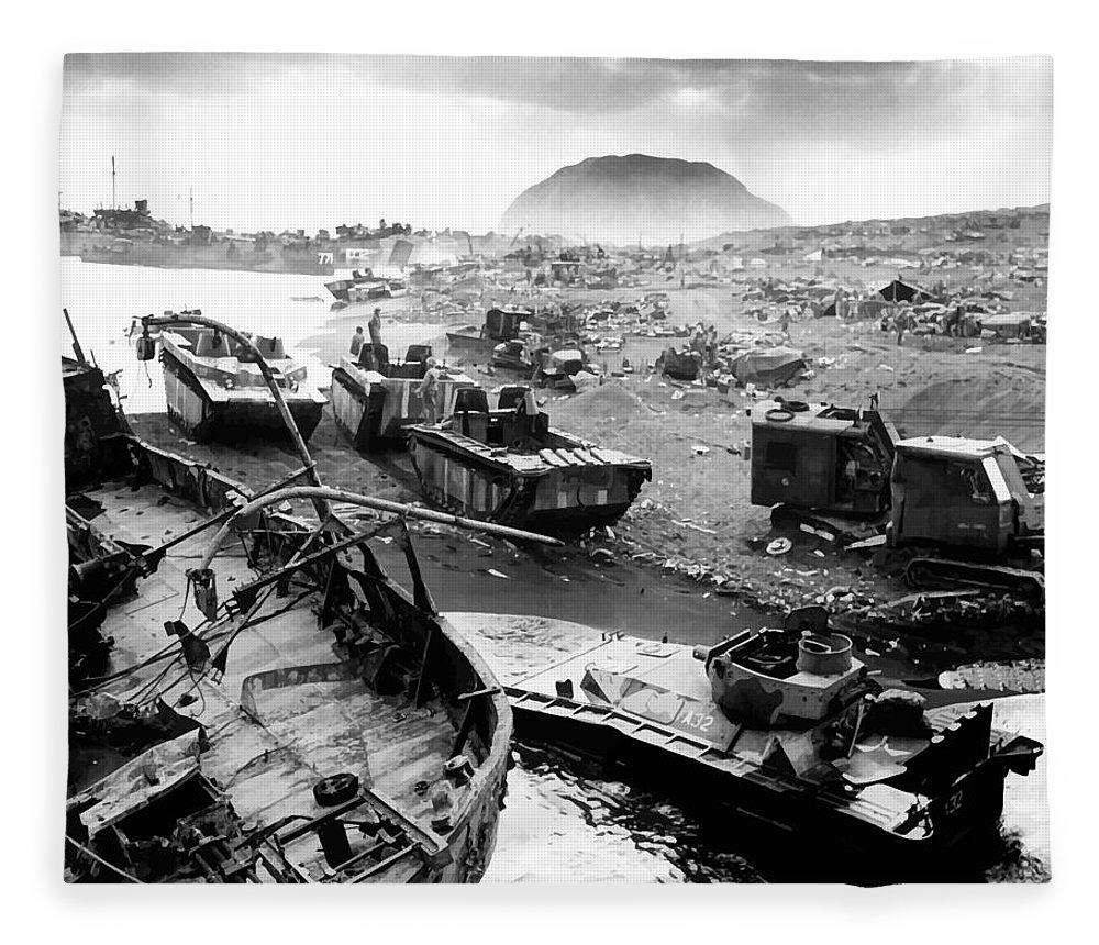Iwo Jima Fleece Blanket featuring the photograph Iwo Jima Beach by War Is Hell Store