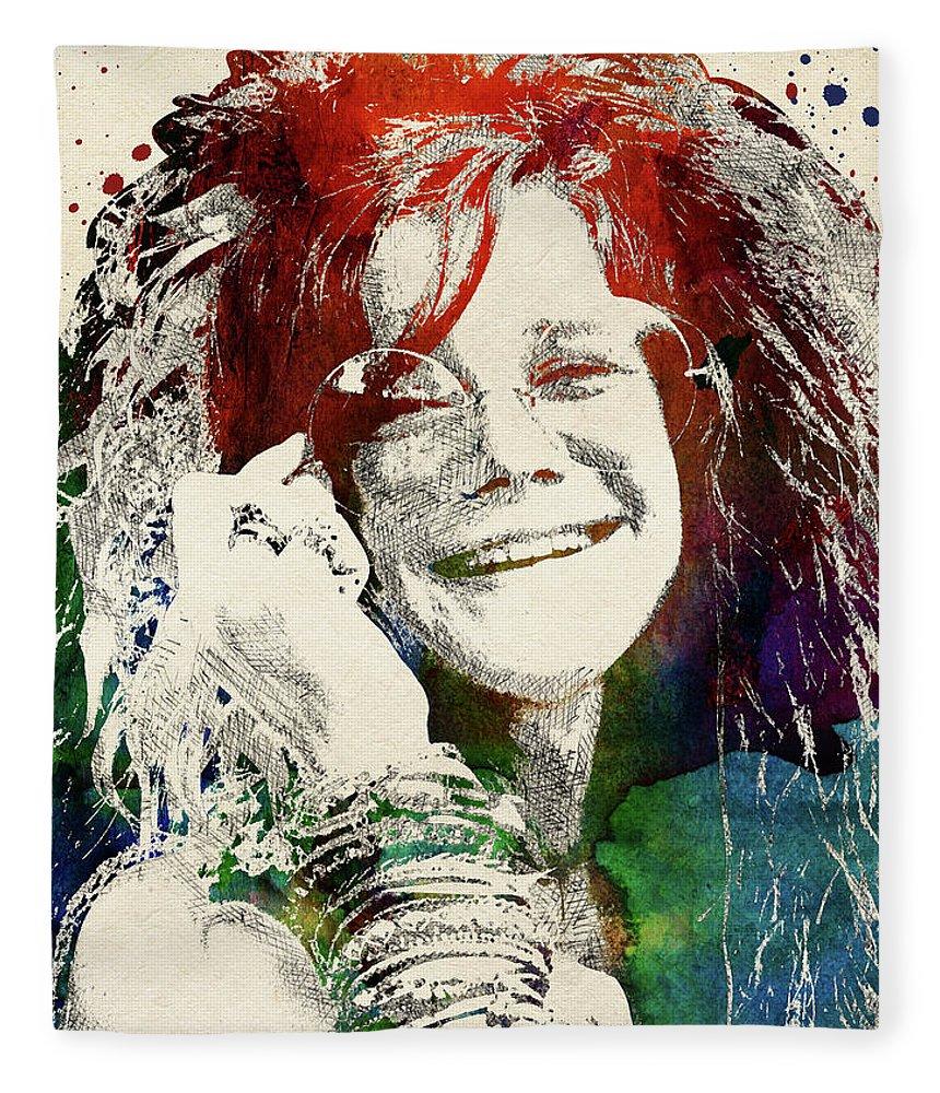 Janis Joplin Fleece Blanket featuring the digital art Janis Joplin Portrait by Mihaela Pater