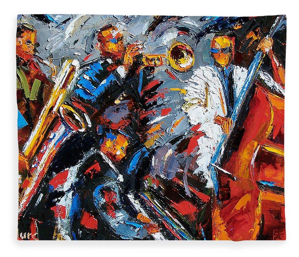 Jazz Fleece Blanket featuring the painting Jazz Unit by Debra Hurd
