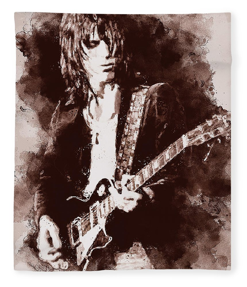 Jeff Beck Fleece Blanket featuring the painting Jeff Beck - 01 by Andrea Mazzocchetti