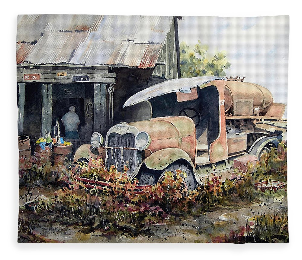 Truck Fleece Blanket featuring the painting Jeromes Tank Truck by Sam Sidders