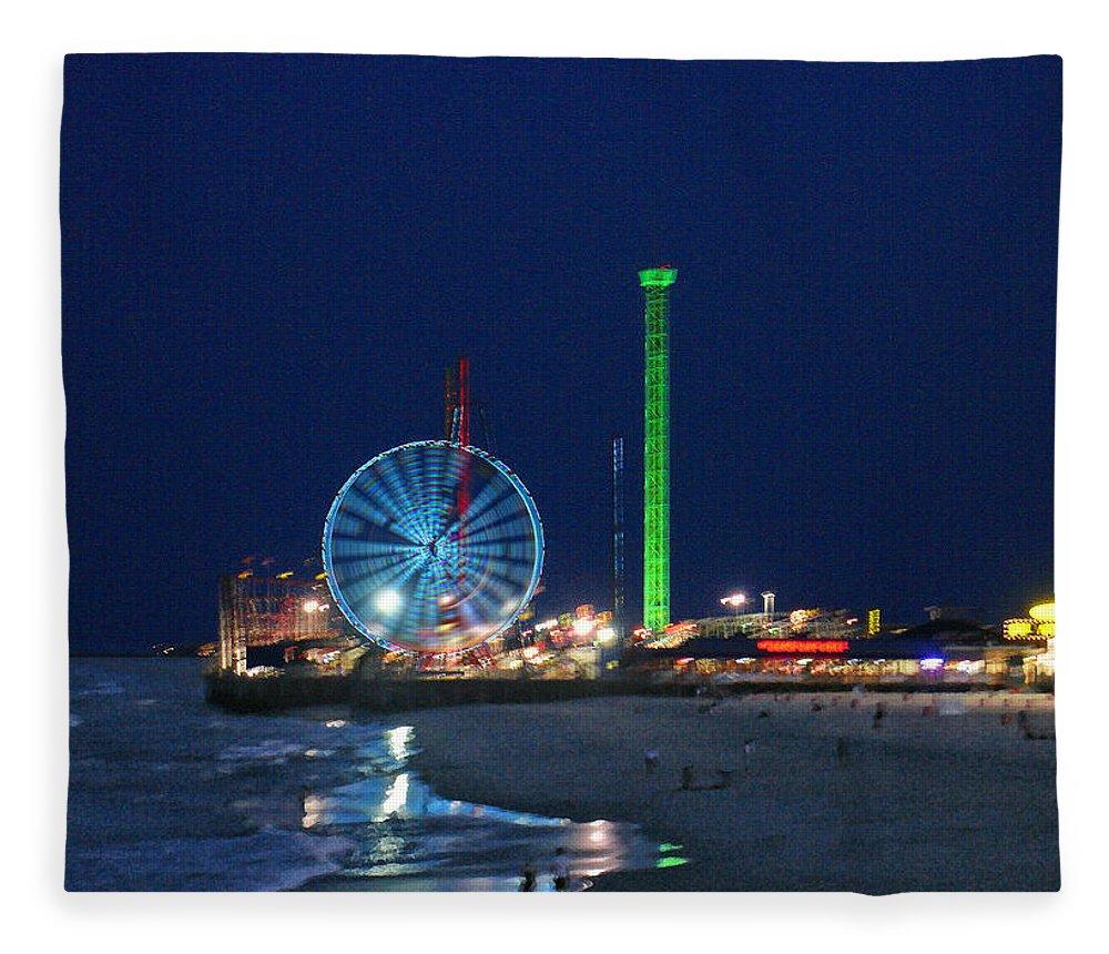 Landscape Fleece Blanket featuring the digital art Jersey Shore by Steve Karol
