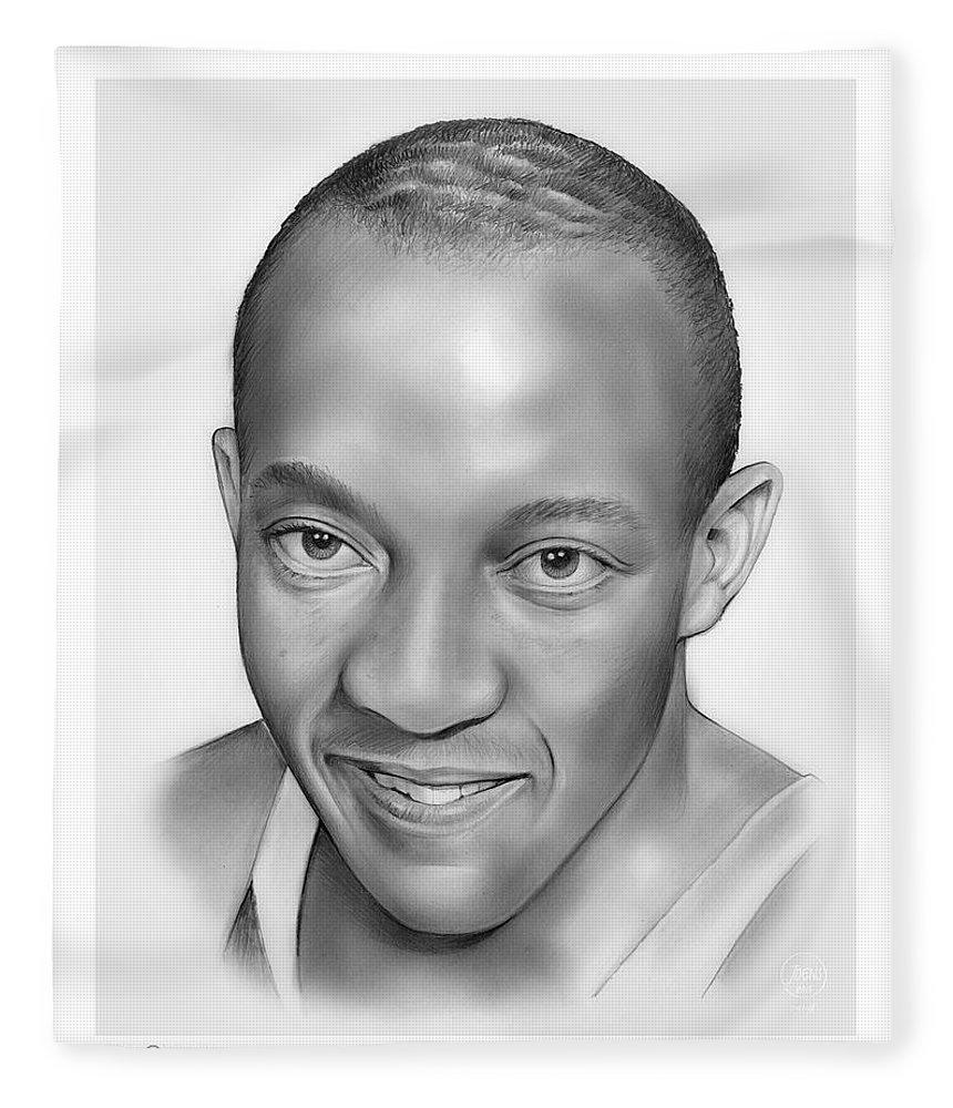 Jesse Owens Fleece Blanket featuring the drawing Jesse Owens by Greg Joens