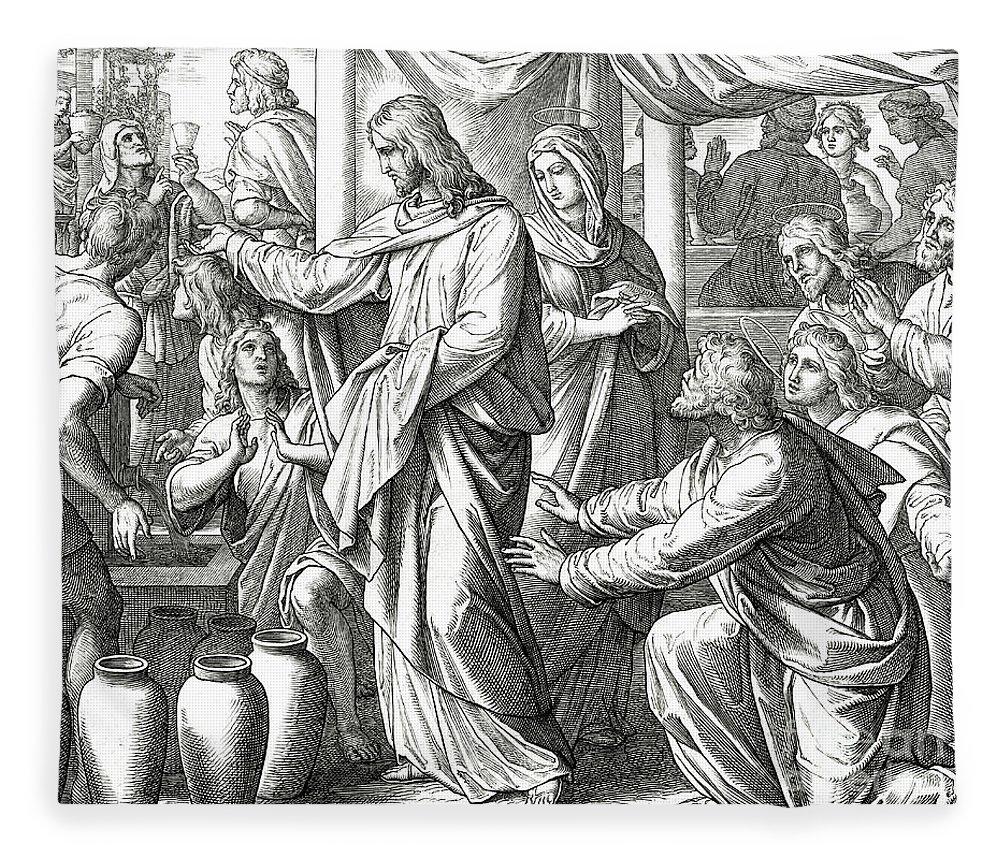 Water Fleece Blanket featuring the drawing Jesus Changes Water Into Wine, Gospel Of John by Julius Schnorr von Carolsfeld