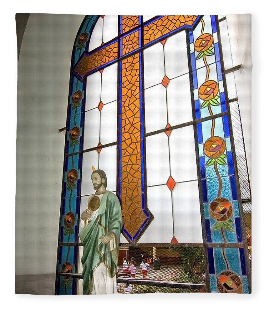 Jesus Fleece Blanket featuring the photograph Jesus In The Church Window And School Girls In The Background by Sven Brogren