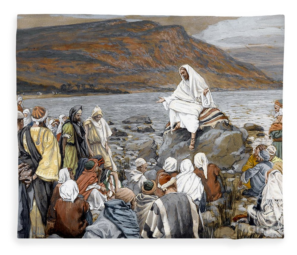Tissot Fleece Blanket featuring the painting Jesus Preaching by Tissot