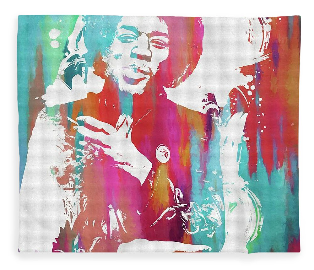 Jimi Color Splatter Fleece Blanket featuring the painting Jimi Color Spatter by Dan Sproul