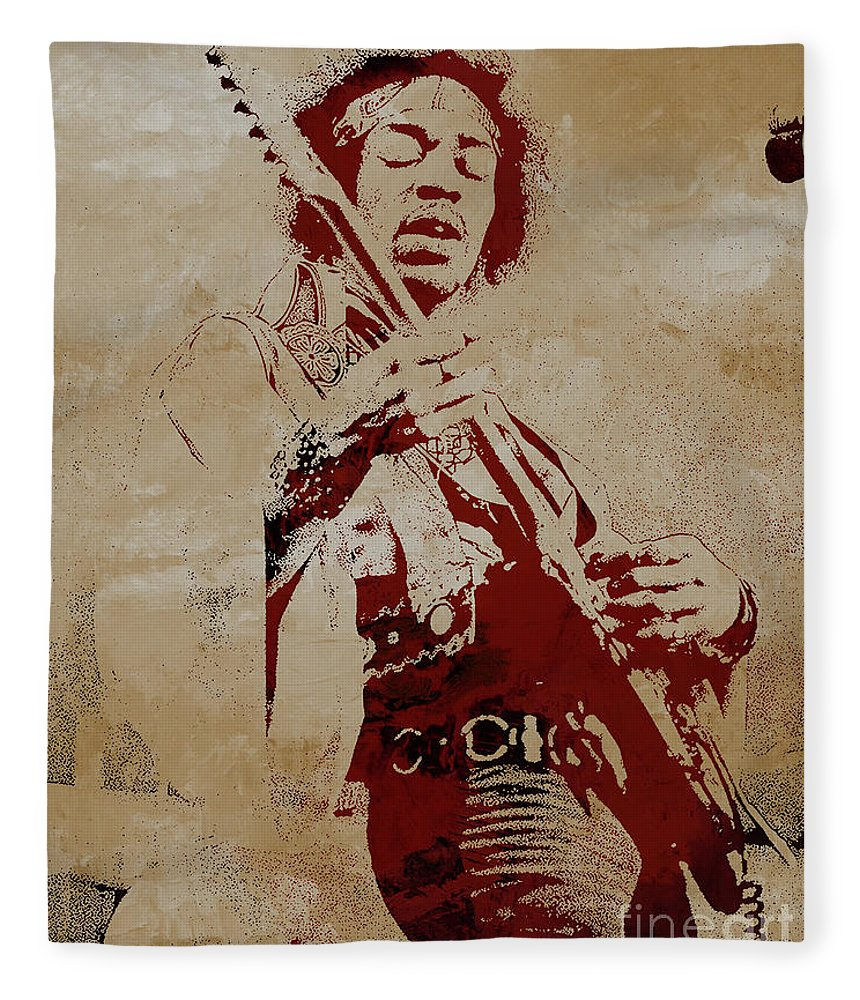 Jimi Hendrix Fleece Blanket featuring the painting Jimi Hendrex The Legend by Gull G