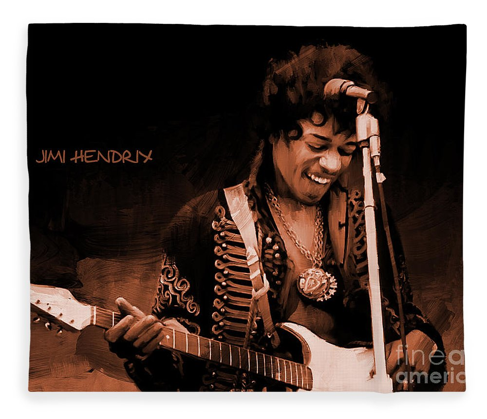 Jimi Hendrix Fleece Blanket featuring the painting Jimi Hendrix 02 by Gull G