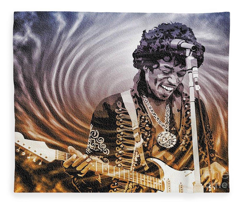 Jimi Hendrix Fleece Blanket featuring the digital art Jimi Hendrix - Legend by Ian Gledhill