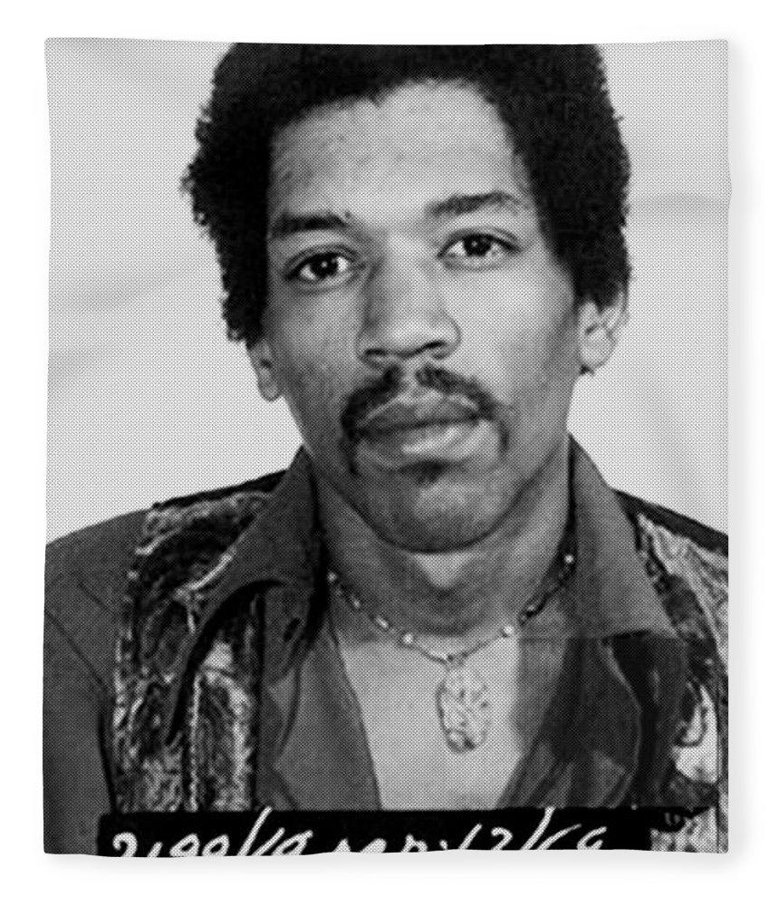Jimi Hendrix Fleece Blanket featuring the painting Jimi Hendrix Mug Shot Vertical by Tony Rubino