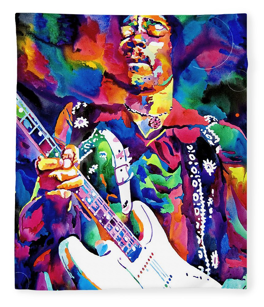 Jimi Hendrix Fleece Blanket featuring the painting Jimi Hendrix Purple by David Lloyd Glover