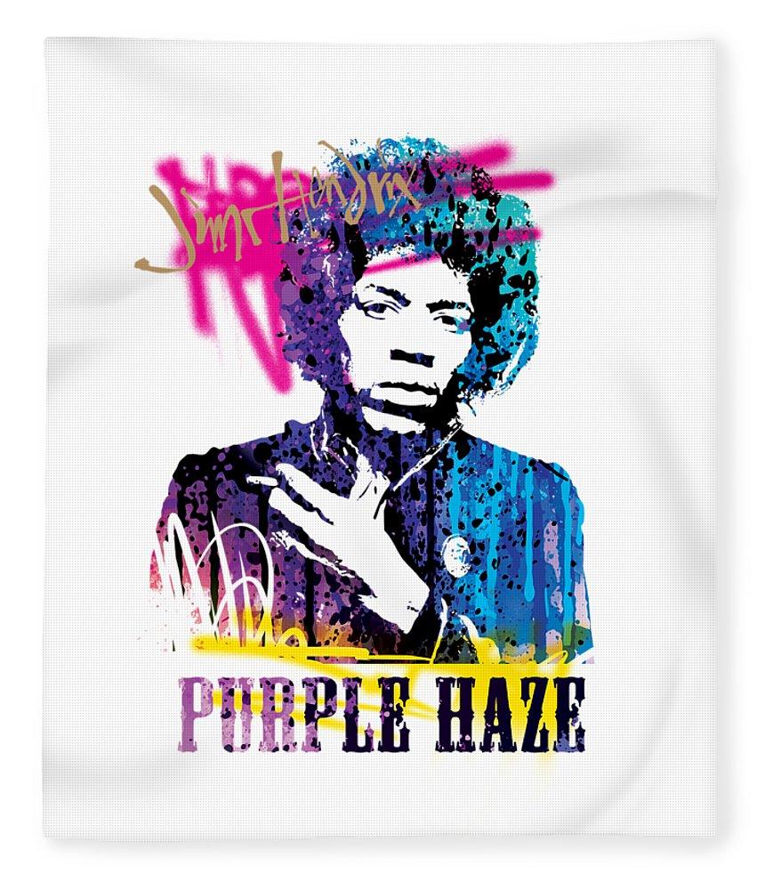 Jimi Fleece Blanket featuring the mixed media JIMI- purple haze by Art Popop