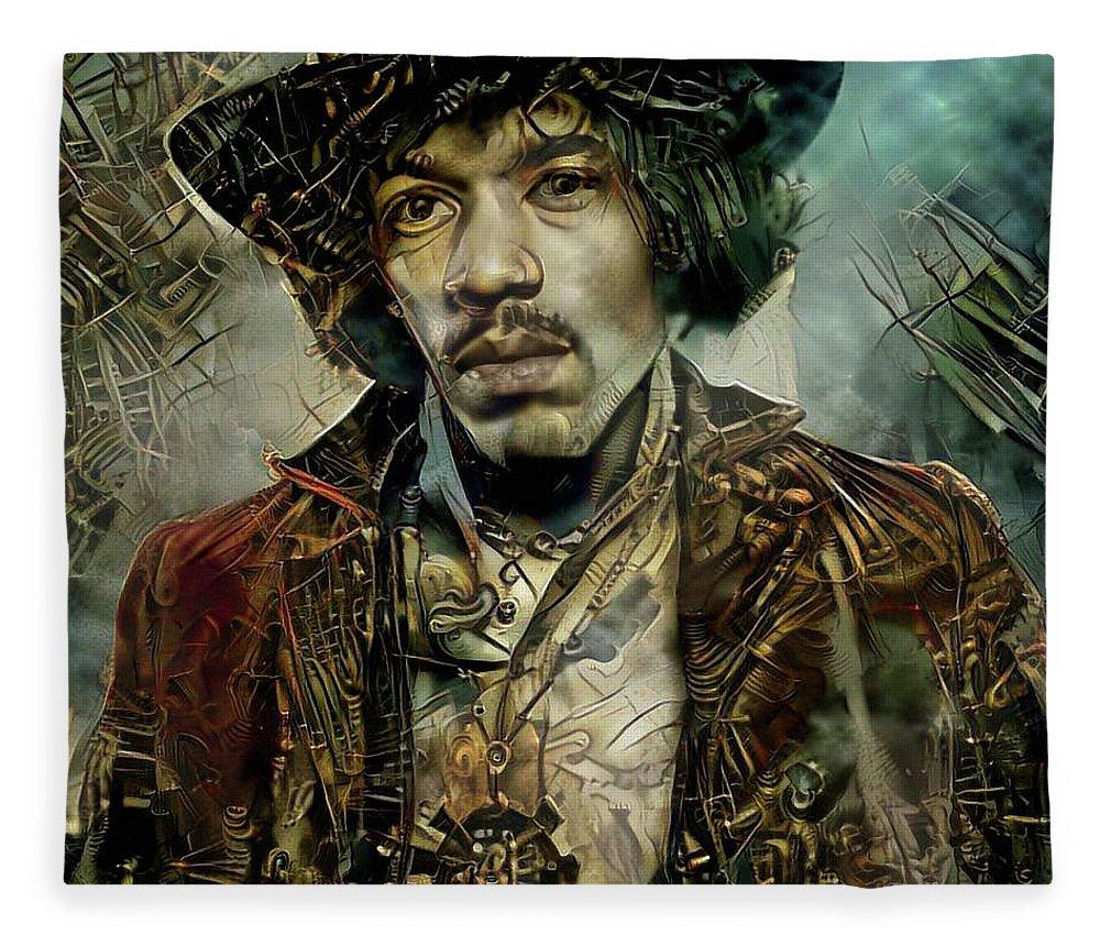 Jimi Hendrix Fleece Blanket featuring the mixed media Jimi Hendrix Steampunk style by Lilia D