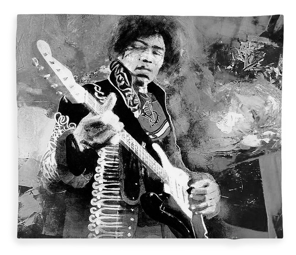 Guitar Fleece Blanket featuring the painting Jimi Hendrix The Legend 03 by Gull G