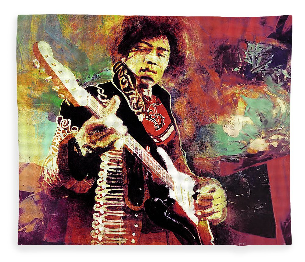 Guitar Fleece Blanket featuring the painting Jimi Hendrix The Legend by Gull G