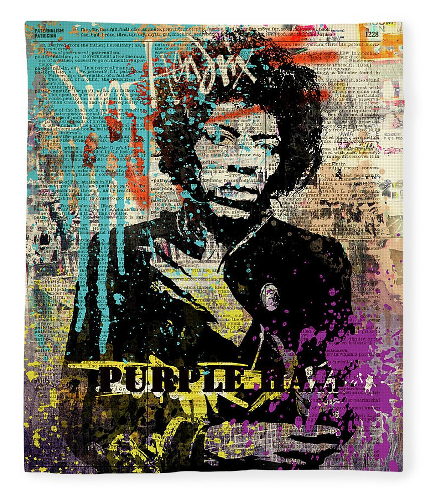 Jimi Fleece Blanket featuring the painting JIMI Hendrix #PURPLE HAZE ON DICTIONARY by Art Popop