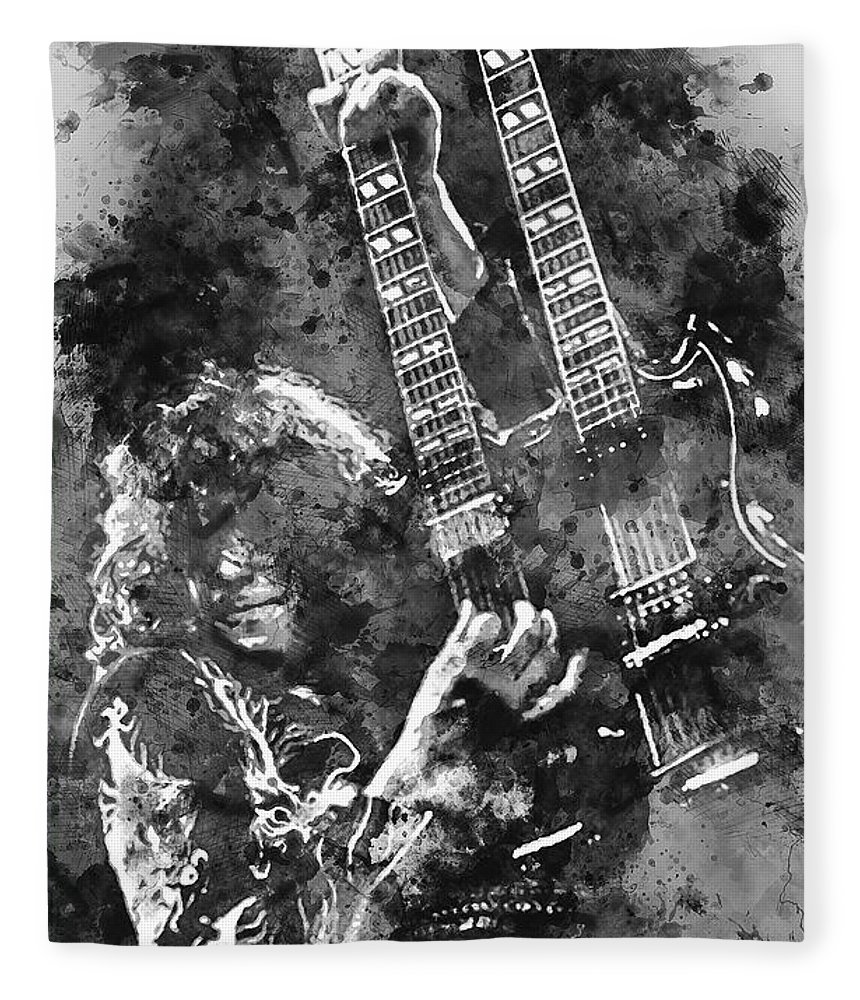 Jimmy Page Portrait Fleece Blanket featuring the painting Jimmy Page - 02 by Andrea Mazzocchetti