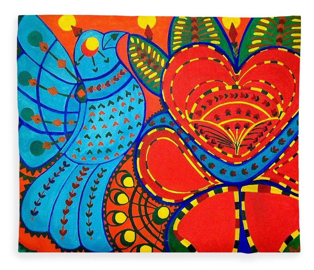 Contemporary Folk Fleece Blanket featuring the painting Jinga Bird - Jinga bird by Fareeha Khawaja