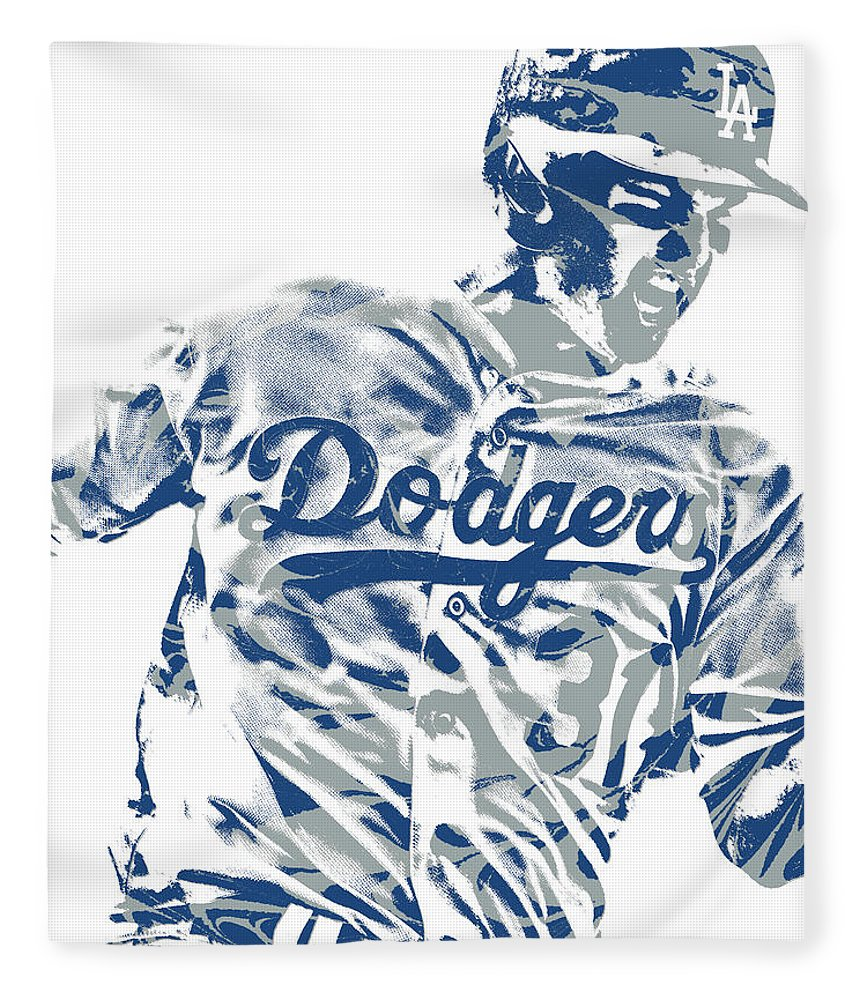 Joc Pederson Fleece Blanket featuring the mixed media Joc Pederson Los Angeles Dodgers Pixel Art 10 by Joe Hamilton