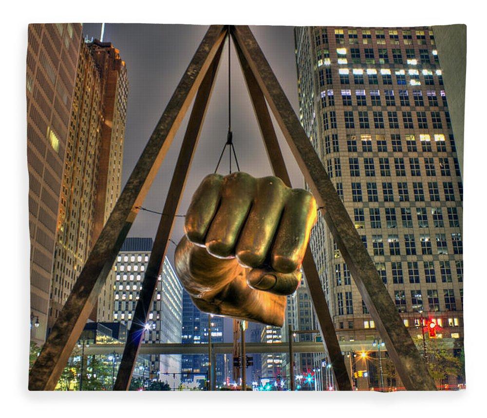 Dj Just Nick Fleece Blanket featuring the digital art Joe Louis Fist Detroit MI by Nicholas Grunas