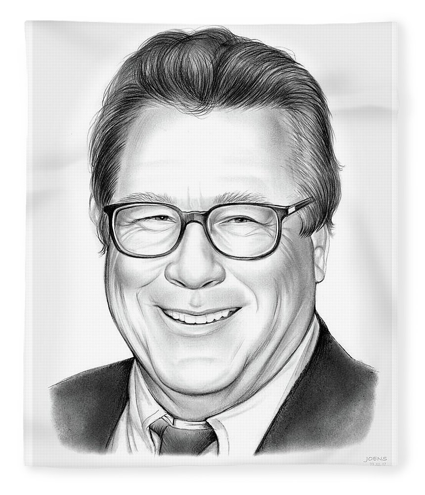 Rip Fleece Blanket featuring the drawing John Heard by Greg Joens