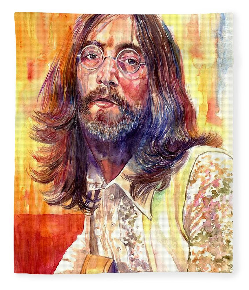 John Lennon Fleece Blanket featuring the painting John Lennon watercolor by Suzann Sines