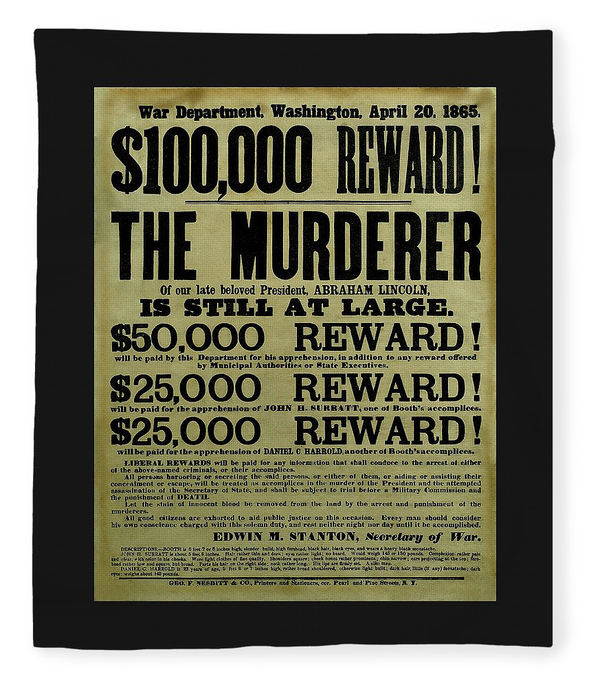 Wanted Fleece Blanket featuring the mixed media John Wilkes Booth Wanted Poster by War Is Hell Store