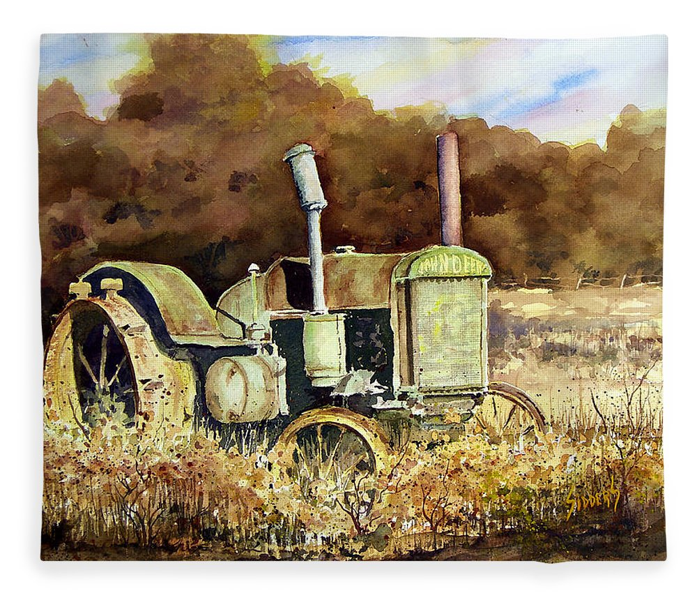Tractor Fleece Blanket featuring the painting Johnny Popper by Sam Sidders