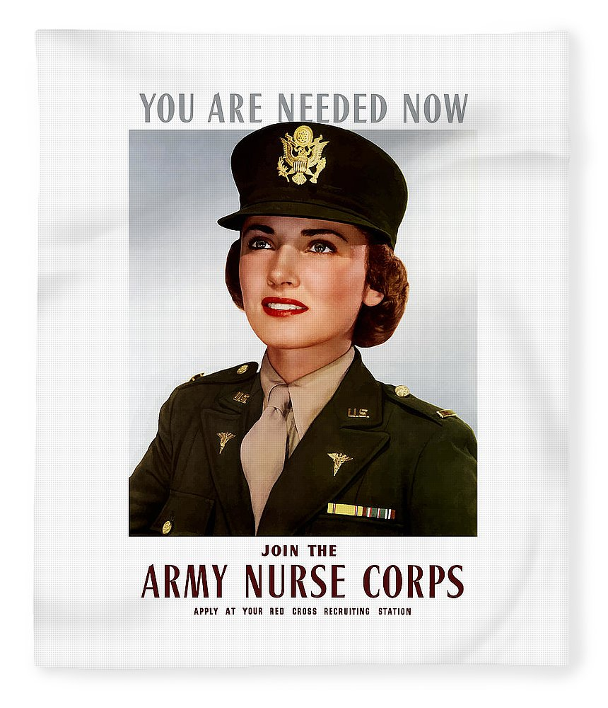 Nursing Fleece Blanket featuring the painting Join The Army Nurse Corps by War Is Hell Store