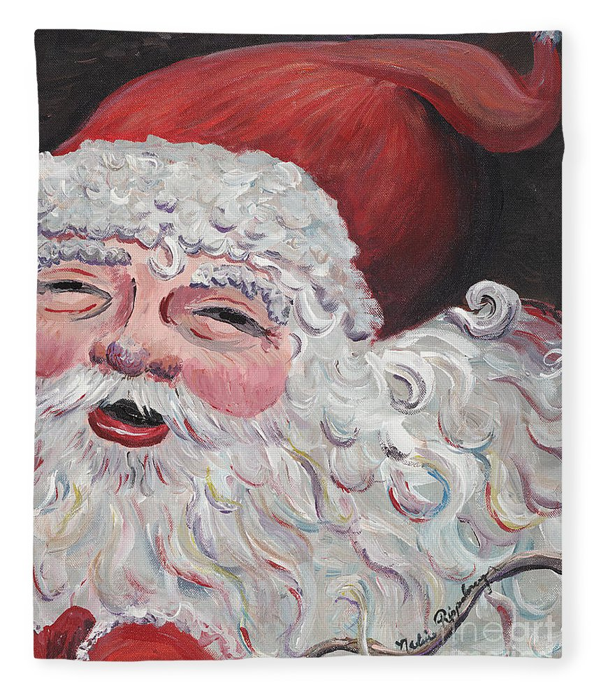 Santa Fleece Blanket featuring the painting Jolly Santa by Nadine Rippelmeyer
