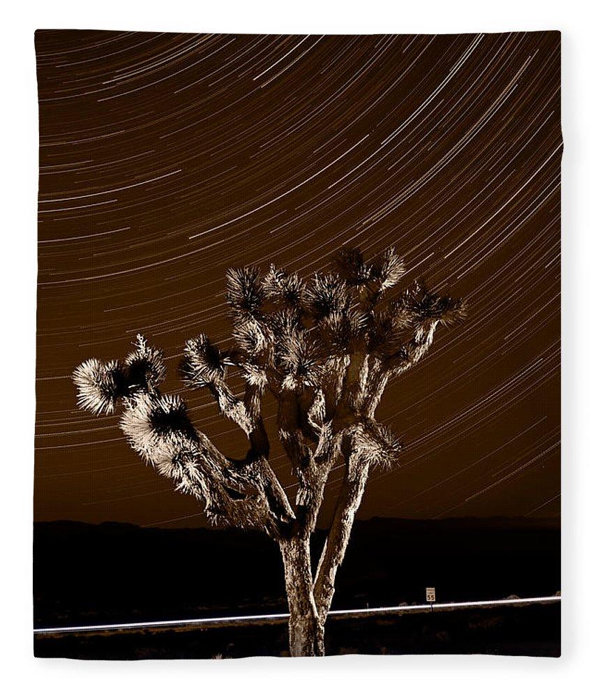 California Fleece Blanket featuring the photograph Joshua Tree Night Lights Death Valley Bw by Steve Gadomski
