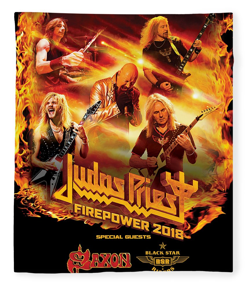 6c5682472c3 Judas Priest Fleece Blanket featuring the digital art Judas Priest Firepower  Tour 2018 by Ratnawati