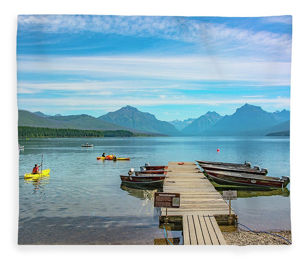 Montana Fleece Blanket featuring the photograph July 4th on Lake McDonald by Bryan Spellman
