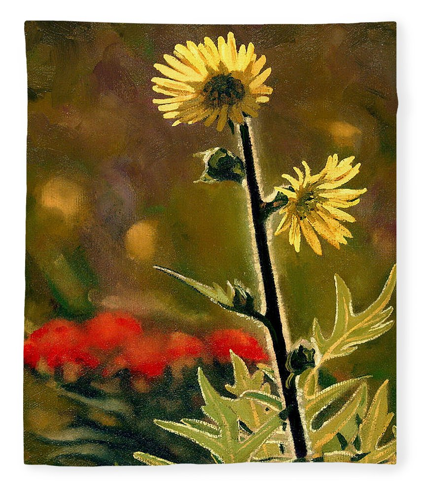 Prairie Flowers Fleece Blanket featuring the painting July Afternoon-Compass Plant by Bruce Morrison