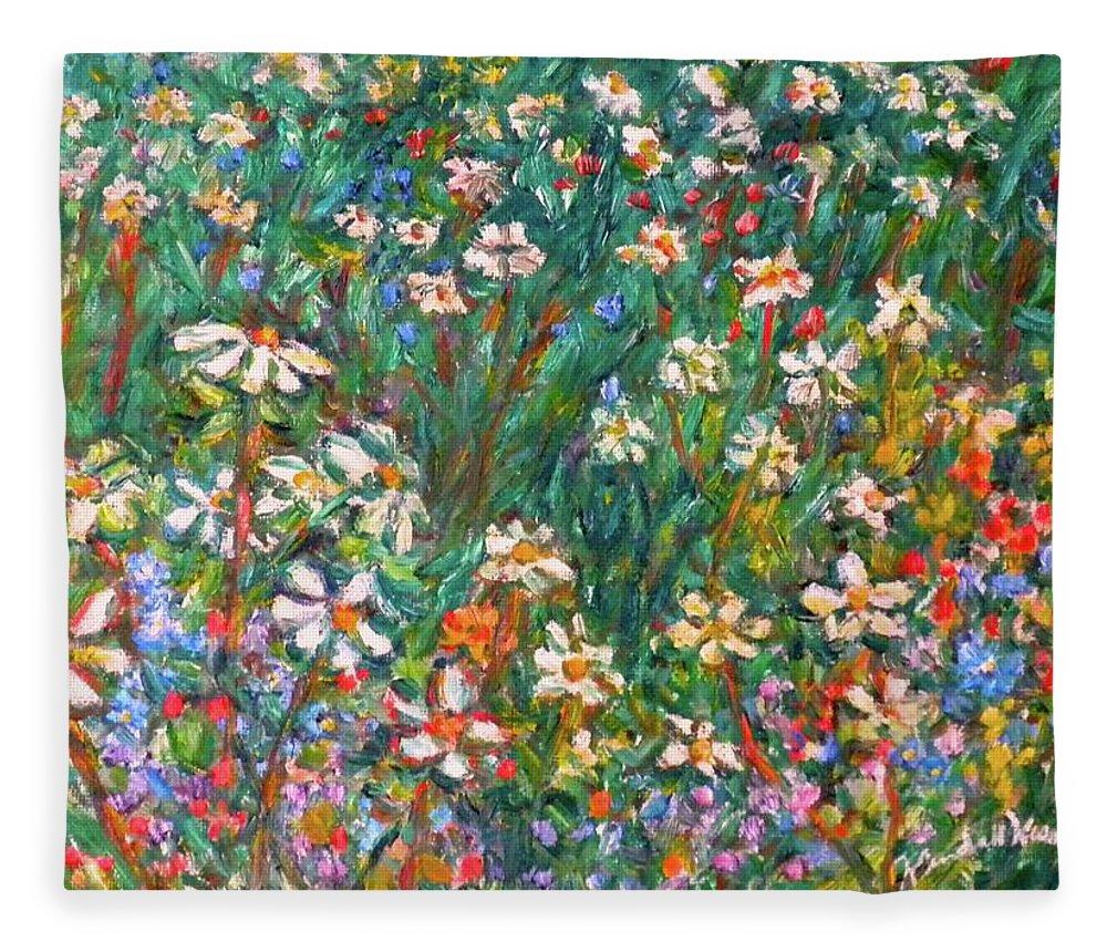 Kendall Kessler Fleece Blanket featuring the painting Jumbled up Wildflowers by Kendall Kessler