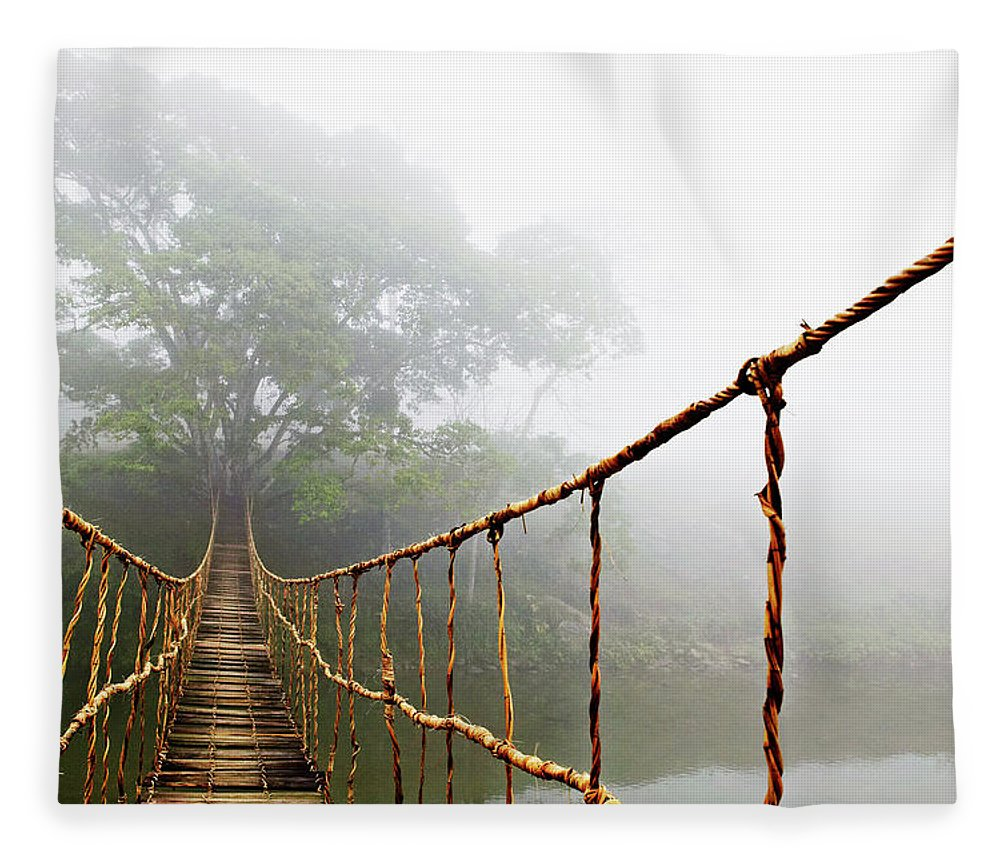Rope Bridge Fleece Blanket featuring the photograph Jungle Journey by Skip Nall