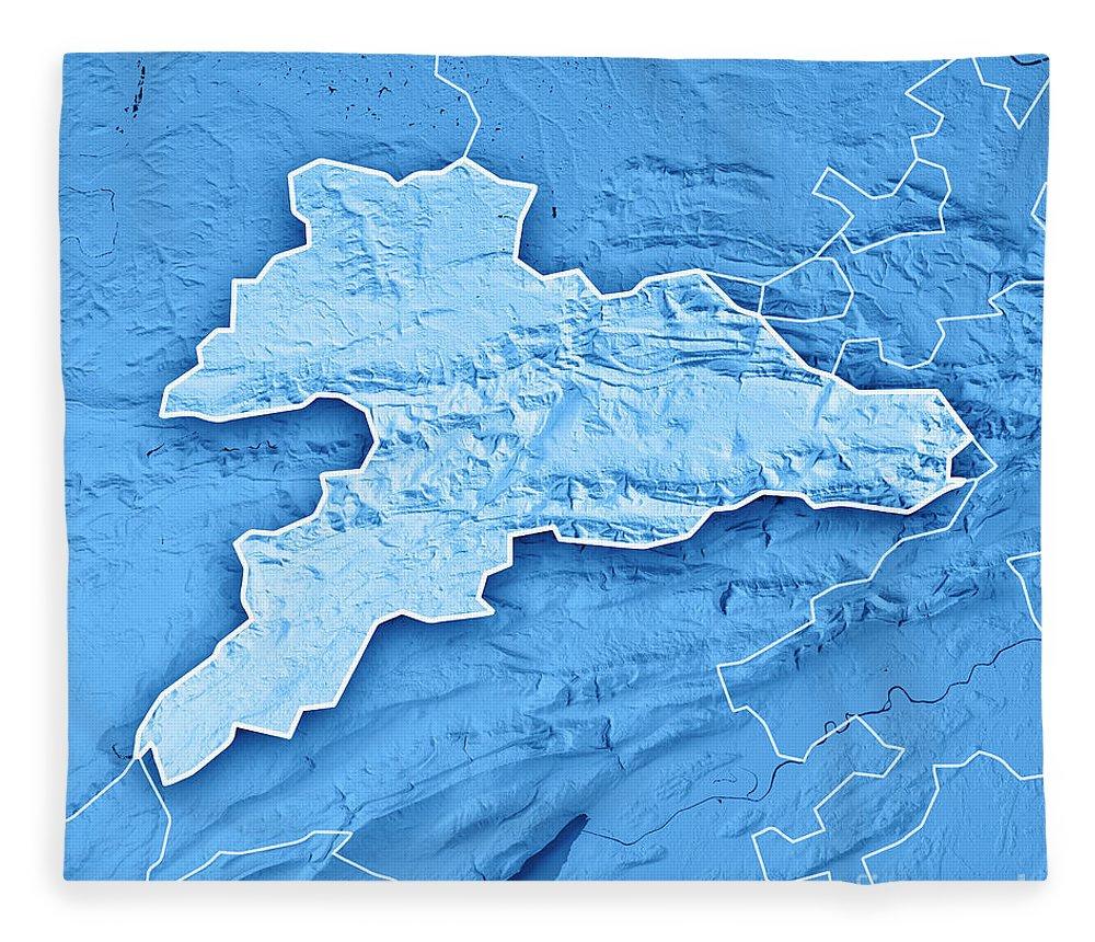 Jura Fleece Blanket featuring the digital art Jura Canton Switzerland 3d Render Topographic Map Blue Border by Frank Ramspott