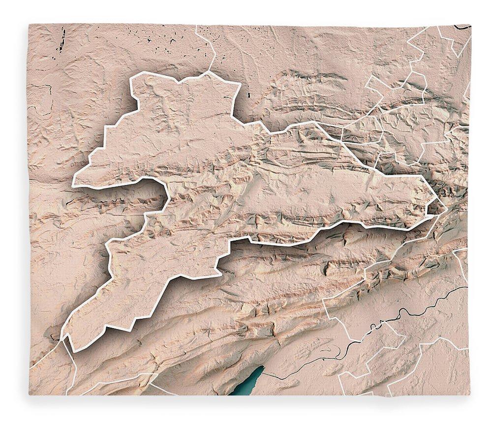 Jura Fleece Blanket featuring the digital art Jura Canton Switzerland 3d Render Topographic Map Neutral Border by Frank Ramspott