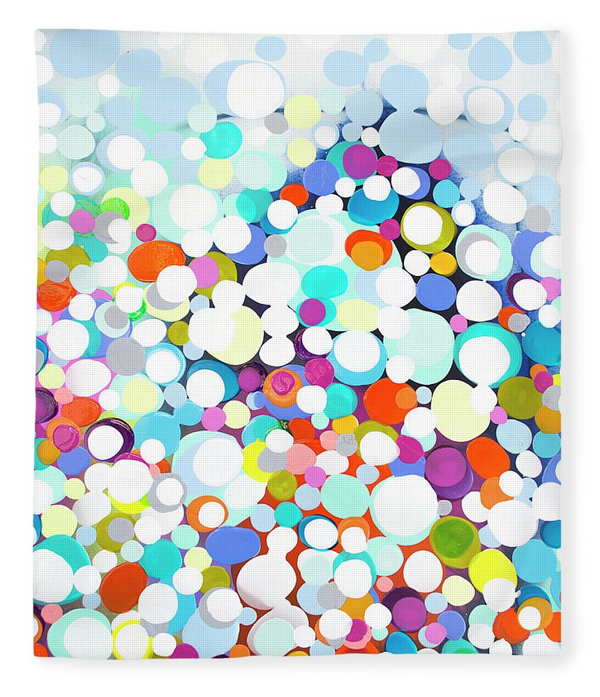 Abstract Fleece Blanket featuring the painting Just For Fun by Claire Desjardins