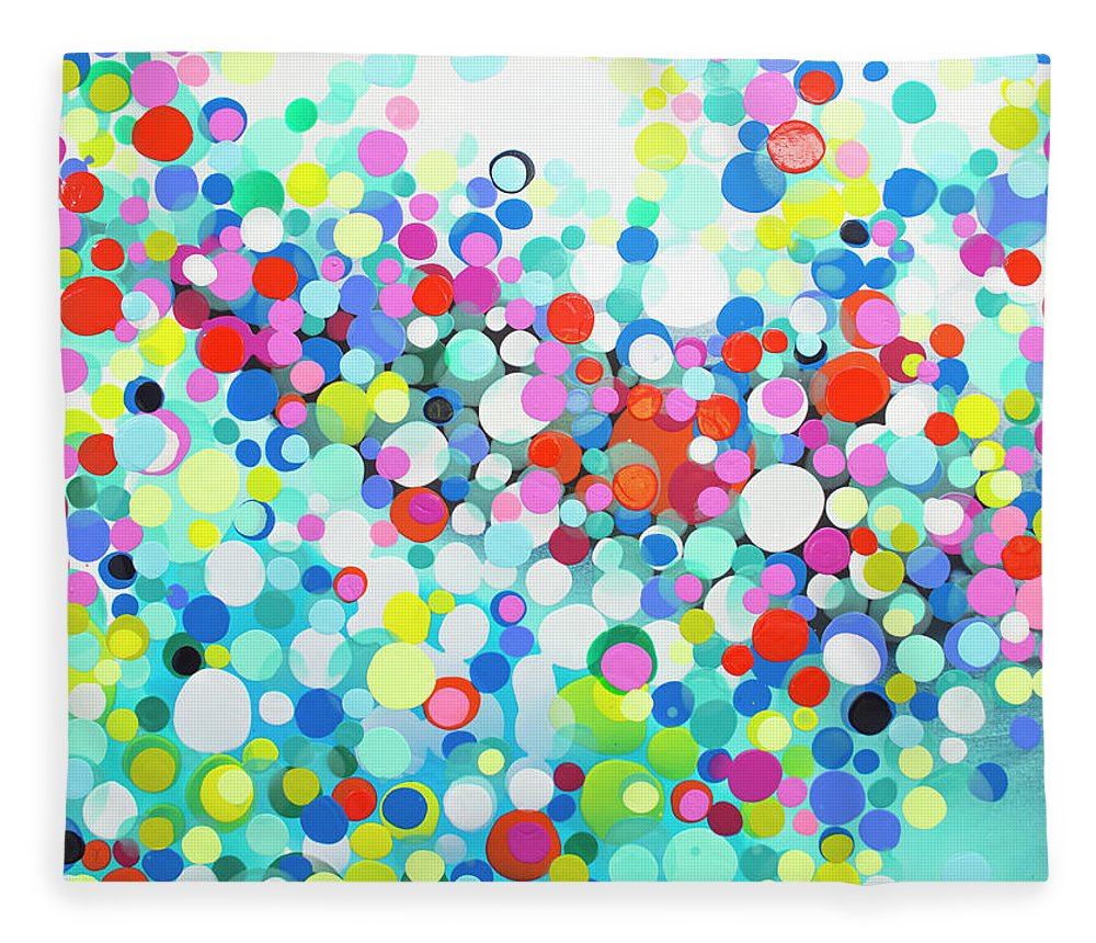 Abstract Fleece Blanket featuring the painting Just Let It by Claire Desjardins