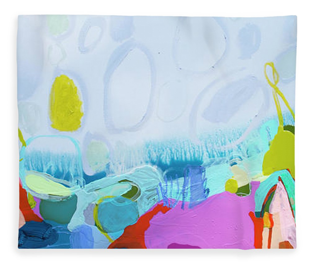 Abstract Fleece Blanket featuring the painting Just Sing by Claire Desjardins