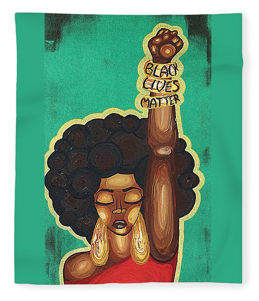 Aliya Michelle Fleece Blanket featuring the painting Justice Wanted by Aliya Michelle