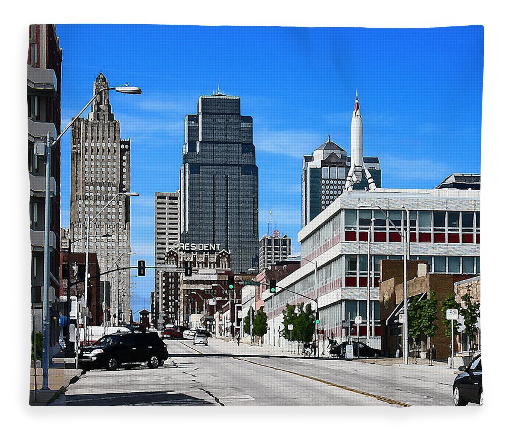 City Scape Fleece Blanket featuring the photograph Kansas City Cross Roads by Steve Karol