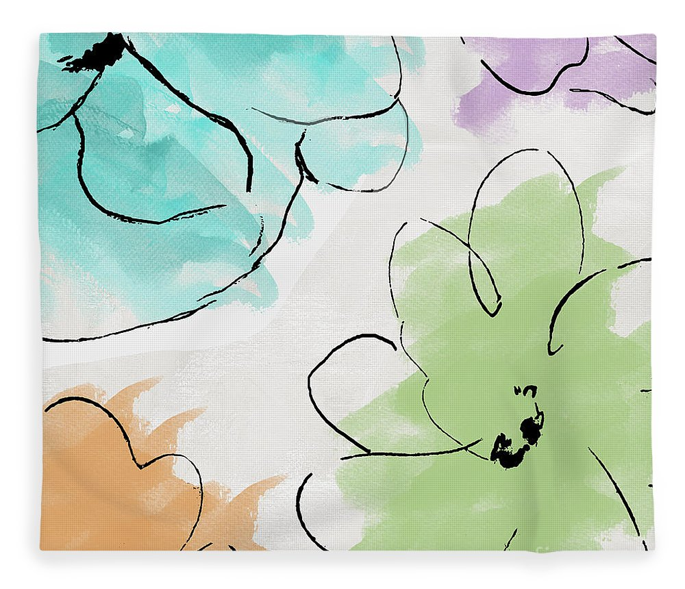 Abstract Fleece Blanket featuring the painting Kasumi by Mindy Sommers