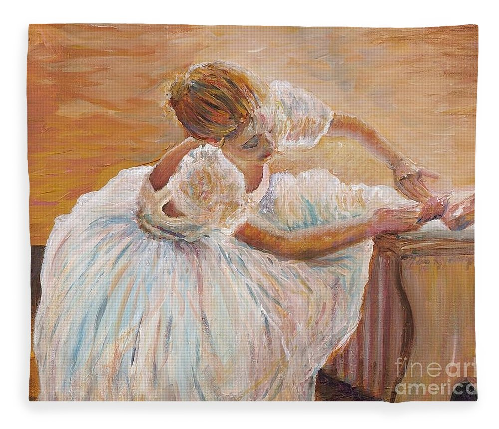 Dancer Fleece Blanket featuring the painting Kaylea by Nadine Rippelmeyer